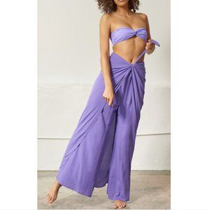 Mara Hoffman Claudette Tied Waist Pant Purple S